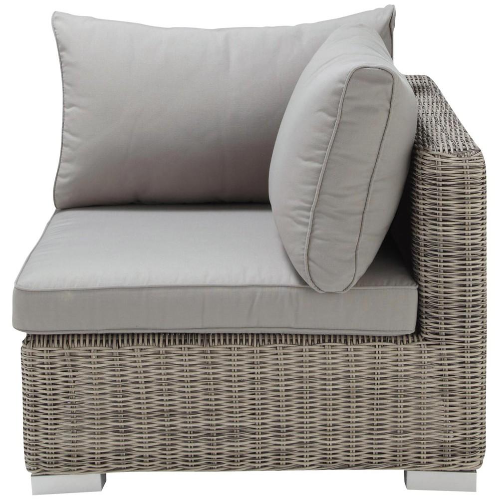angolo grigio di divano da giardino in resina intrecciata