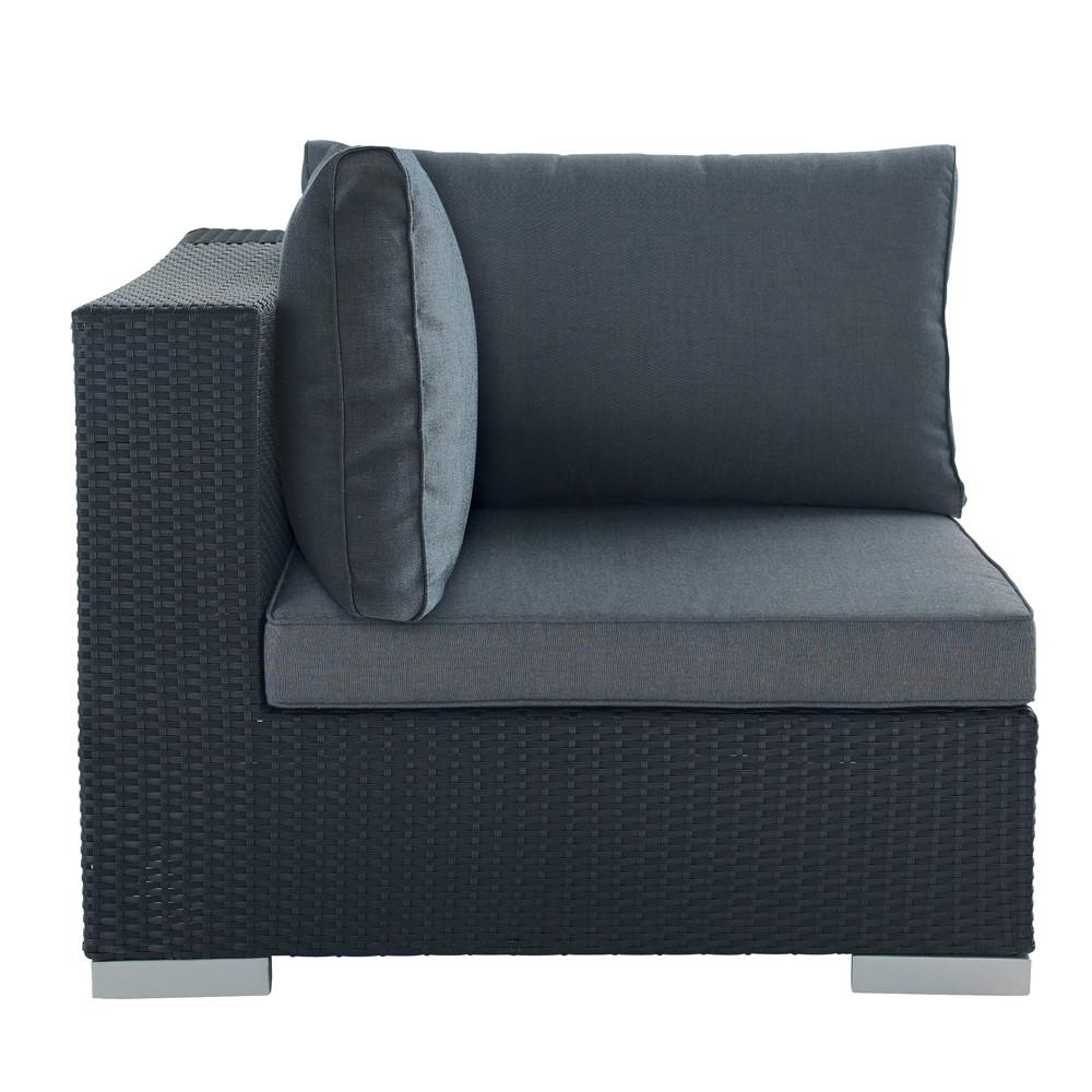 Angolo nero di divano da giardino in resina intrecciata - Divano giardino ...
