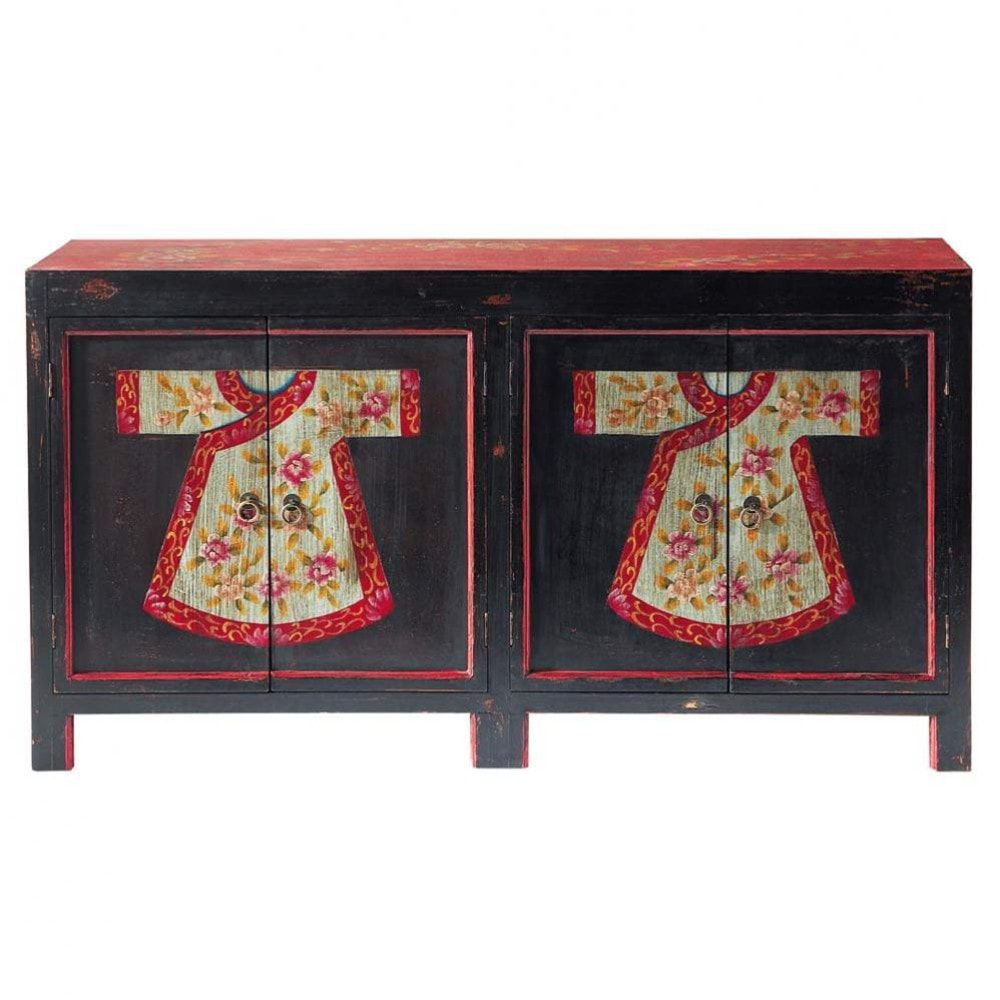 anrichte aus holz mit motiven b 130 cm schwarz rot kimono kimono maisons du monde. Black Bedroom Furniture Sets. Home Design Ideas