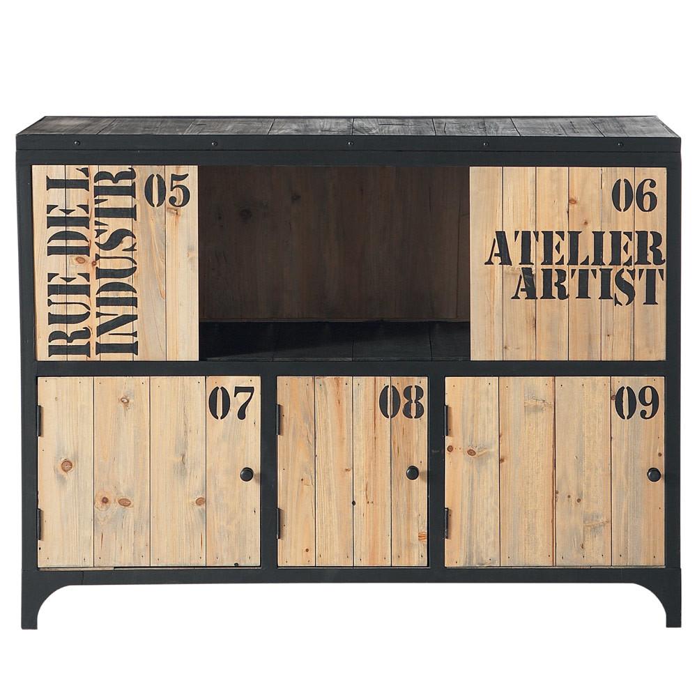 anrichte aus metall b 110 cm schwarz docks maisons du monde. Black Bedroom Furniture Sets. Home Design Ideas