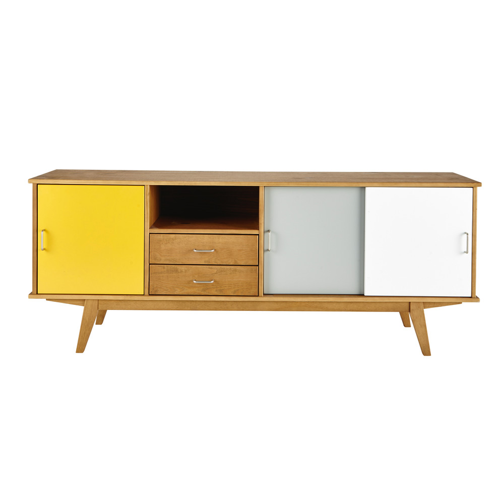 anrichte im vintage stil aus holz gelb grau wei b180 paulette maisons du monde. Black Bedroom Furniture Sets. Home Design Ideas