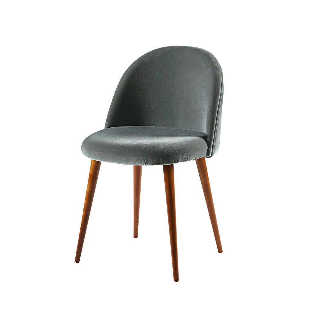 anthracite velvet vintage chair mauricette maisons du monde. Black Bedroom Furniture Sets. Home Design Ideas