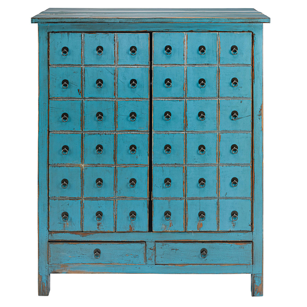 antique blue pine 2 door 2 drawer cabinet baho maisons du monde. Black Bedroom Furniture Sets. Home Design Ideas