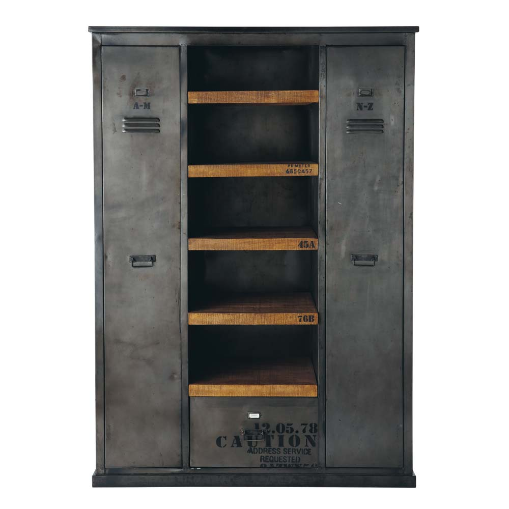 antiqued metal industrial closet w 135cm manufacture maisons du monde. Black Bedroom Furniture Sets. Home Design Ideas