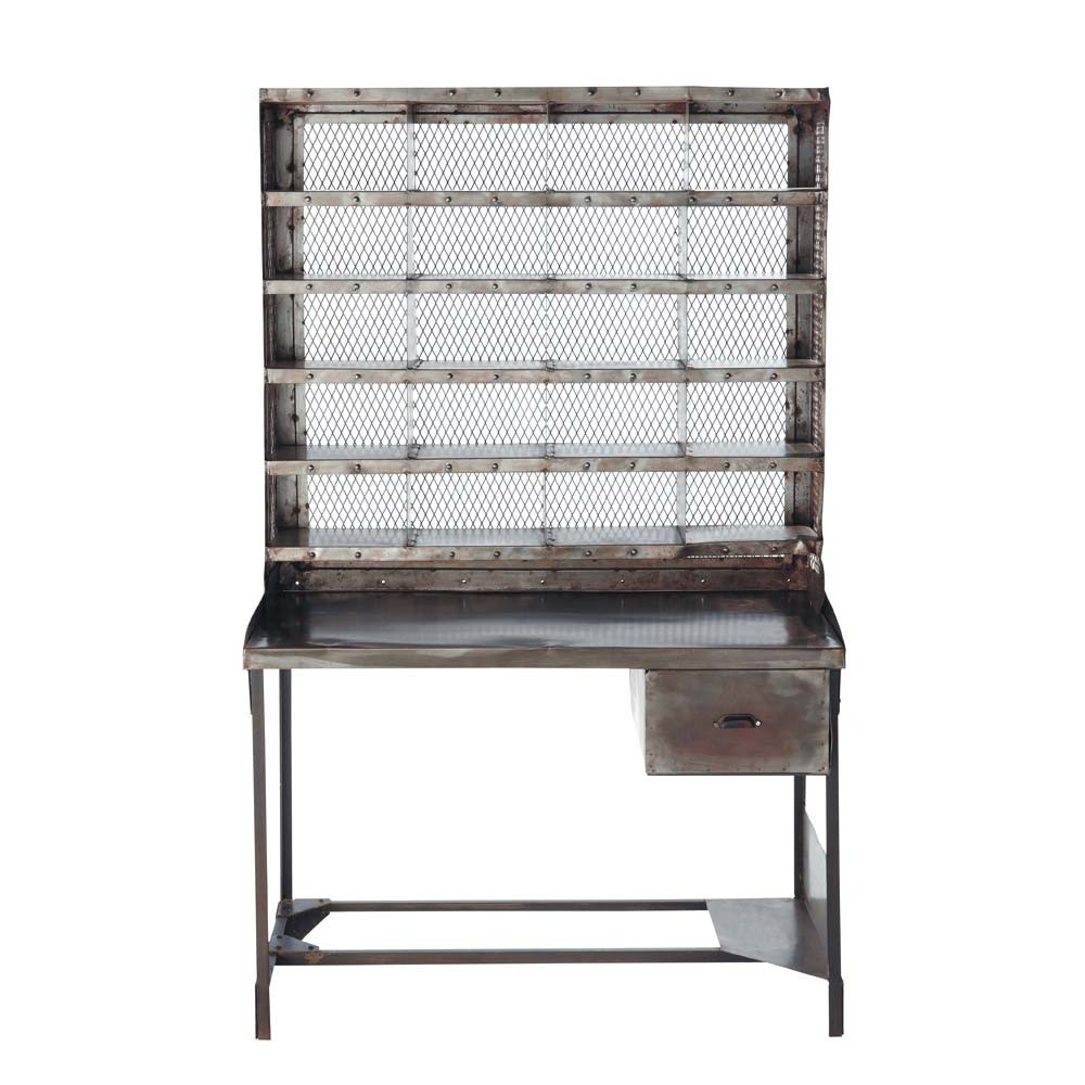 Antiqued metal writing desk w 110cm t l graphe maisons - Maisons du monde meuble tv ...