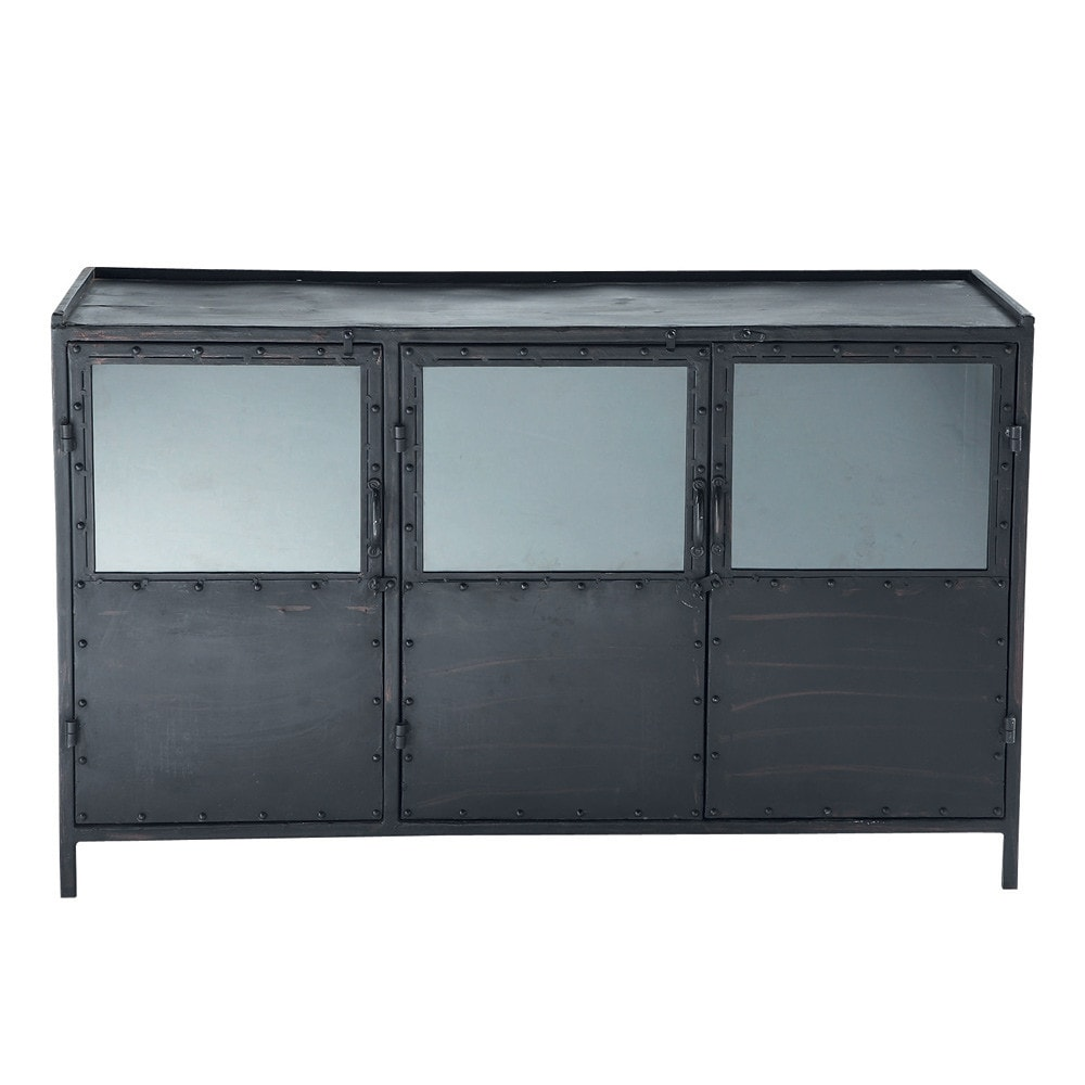 Aparador Buffet Madeira ~ Aparador industrial con vitrina de metal negro An 130 cm