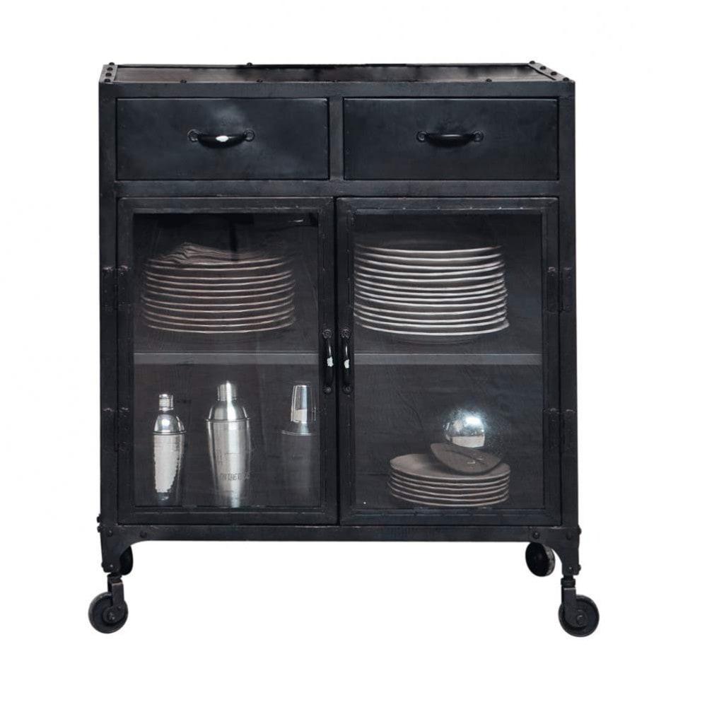 Aparador Buffet Madeira ~ Aparador industrial con vitrina y ruedas de metal negro An