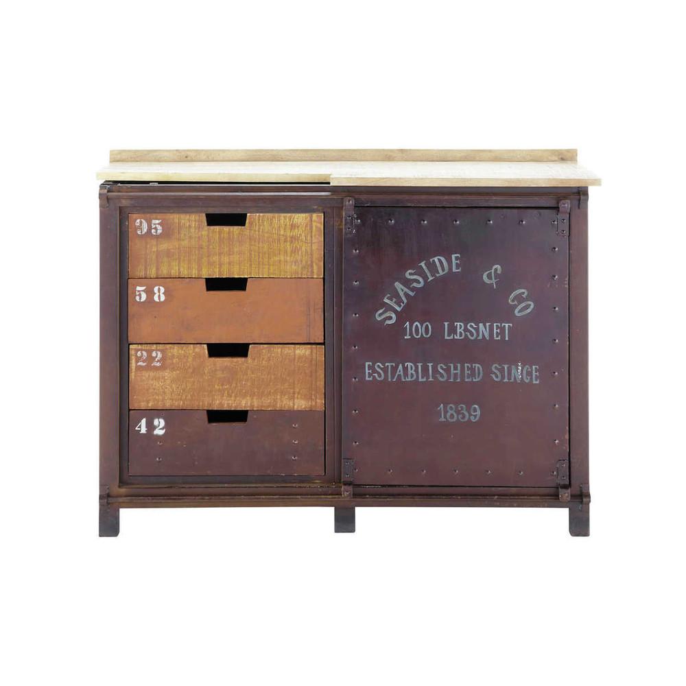 Aparador industrial de metal efecto xido an 120 cm for Muebles de efecto industrial