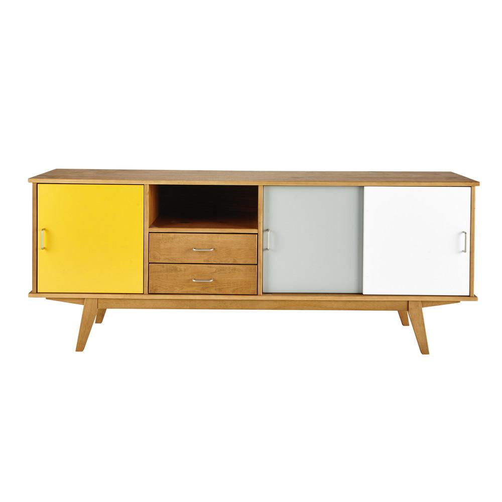 Aparador Hemnes Amarillo ~ Aparador vintage de madera amarillo gris blanco An 180 cm Paulette Maisons du Monde