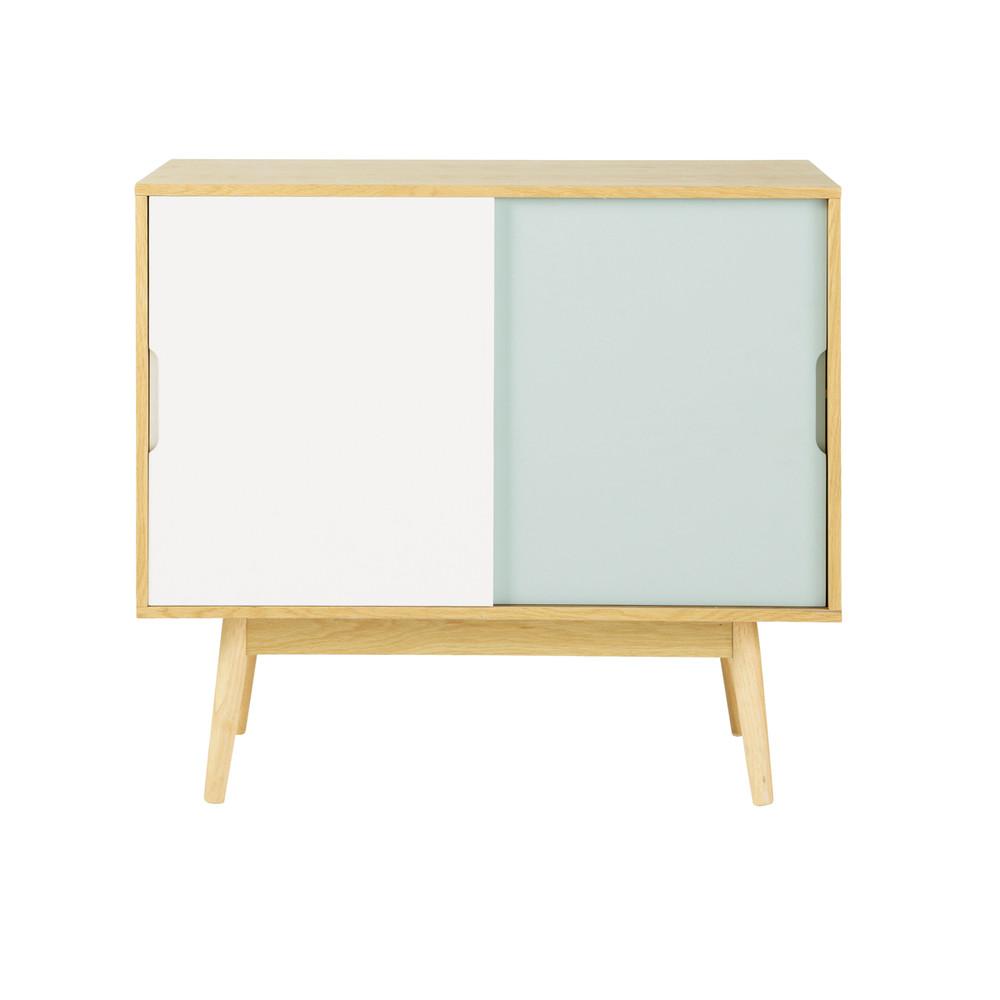 aparador vintage de madera blanco y azul an 90 cm fjord. Black Bedroom Furniture Sets. Home Design Ideas