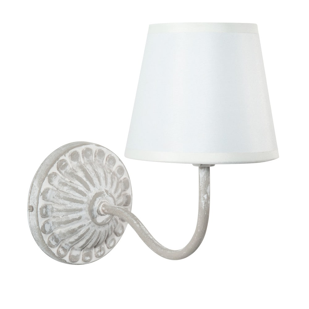 applique en m tal et toile effet vieilli grise h 30 cm. Black Bedroom Furniture Sets. Home Design Ideas