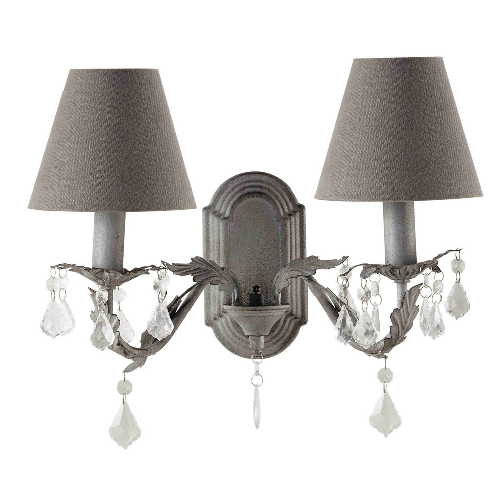Applique in metallo grigio anticato h 31 cm marigny maisons du monde - Maison du monde applique ...