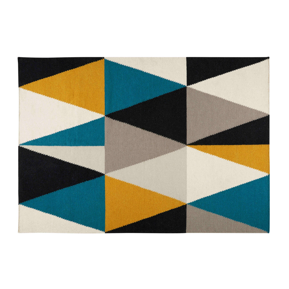 archi rug with multicoloured triangle motifs 200 x 140 cm maisons du monde. Black Bedroom Furniture Sets. Home Design Ideas