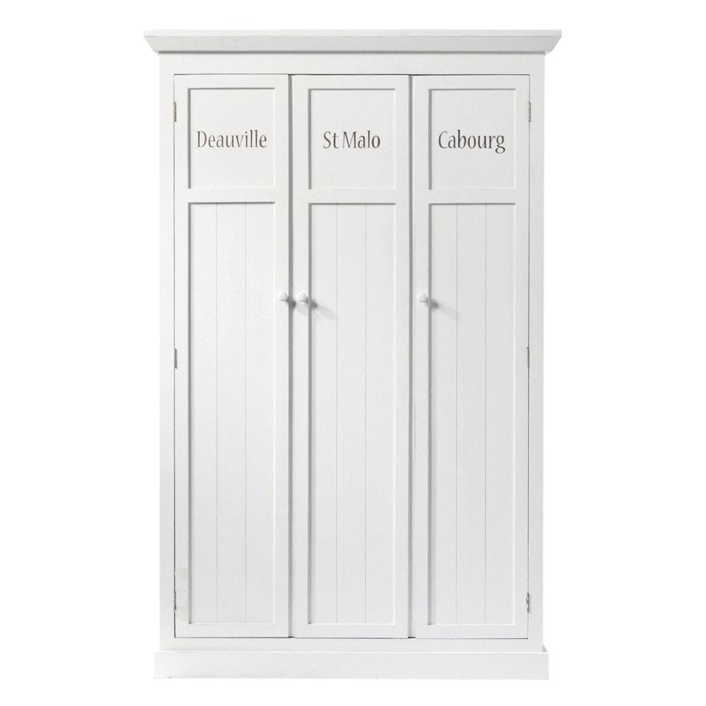 Armario de madera blanco an 125 cm newport maisons du monde - Armario madera blanco ...