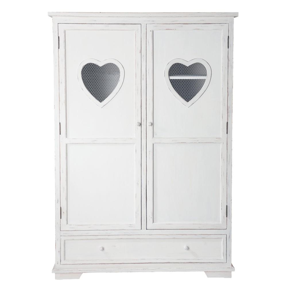 Armario de madera blanco an 130 cm valentine maisons du - Armario madera blanco ...