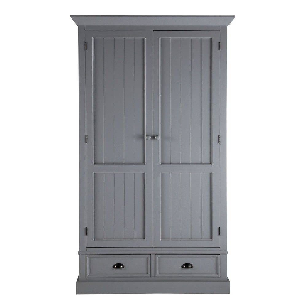 armario de madera gris an 114 cm newport maisons du monde. Black Bedroom Furniture Sets. Home Design Ideas
