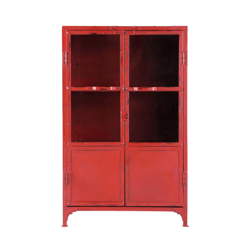 Armarito con vitrina industrial de metal rojo an 75 cm for Vitrina estilo industrial