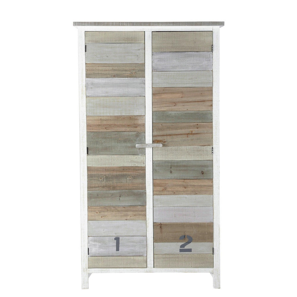 armoire en bois blanc l 110 cm noirmoutier maisons du monde. Black Bedroom Furniture Sets. Home Design Ideas