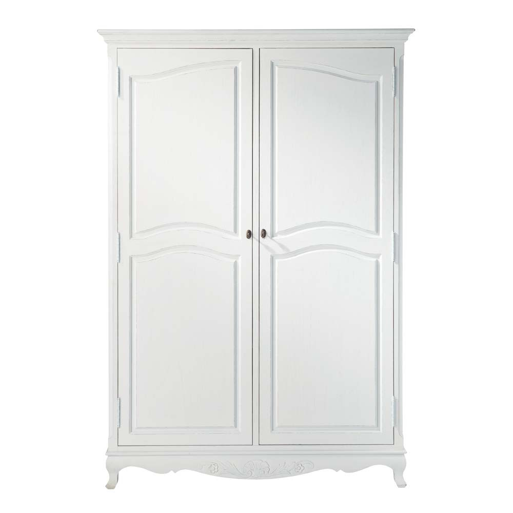 armoire en bois de paulownia blanche l 130 cm jos phine. Black Bedroom Furniture Sets. Home Design Ideas