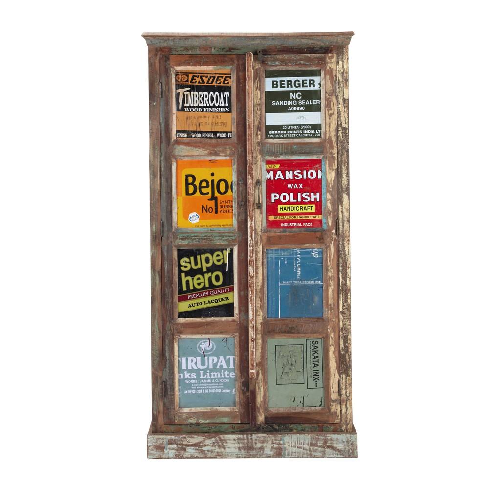 armoire en bois recycl multicolore l 90 cm r cup. Black Bedroom Furniture Sets. Home Design Ideas