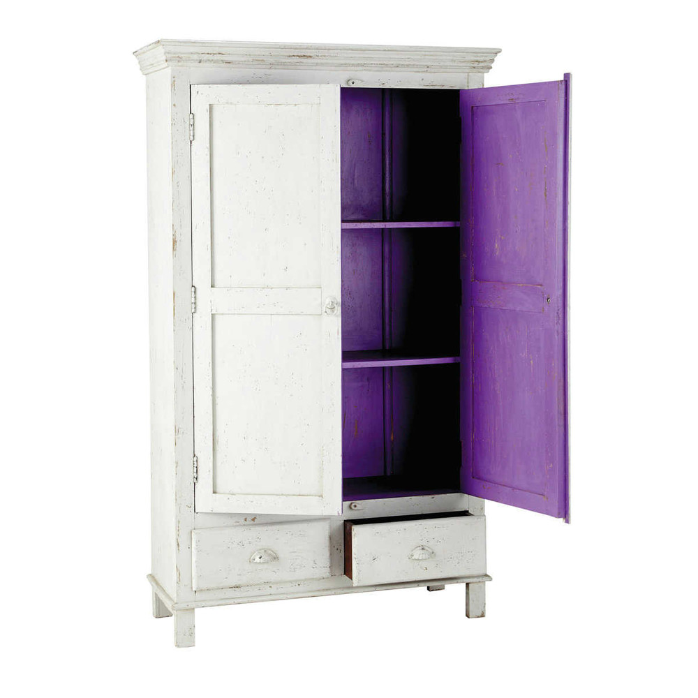 armoire en manguier blanche l 108 cm salvador maisons du. Black Bedroom Furniture Sets. Home Design Ideas