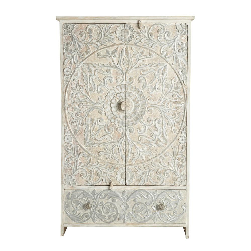 armoire en manguier massif blanche et argent e l 110 cm. Black Bedroom Furniture Sets. Home Design Ideas