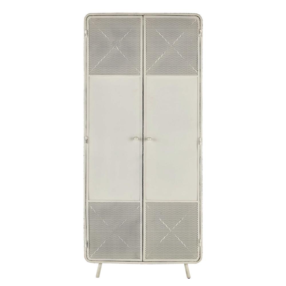 armoire en m tal blanche l 80 cm knokke maisons du monde. Black Bedroom Furniture Sets. Home Design Ideas