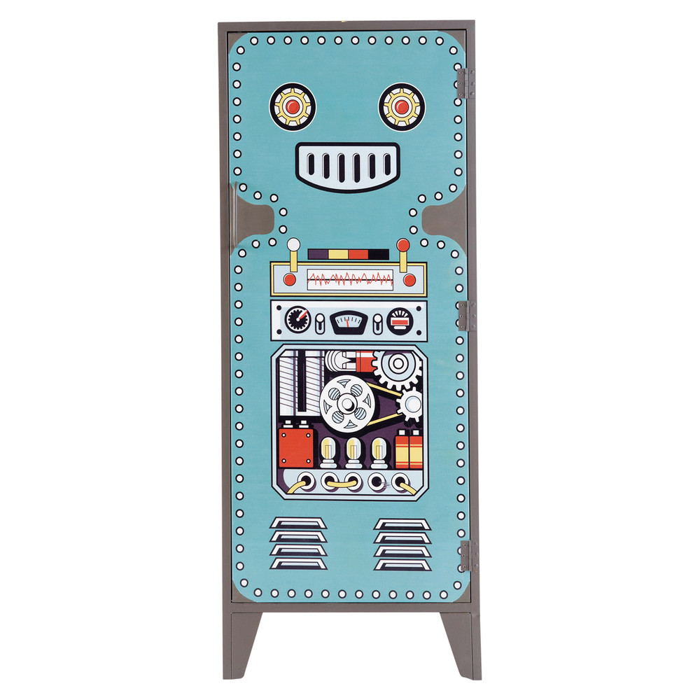 armoire enfant bleue vintage robot maisons du monde. Black Bedroom Furniture Sets. Home Design Ideas