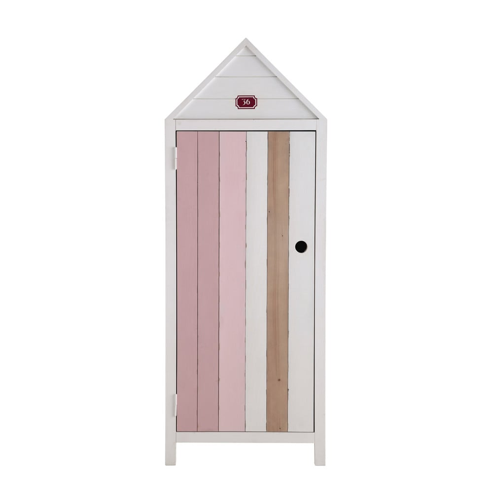 armoire enfant cabine de plage en bois rose l 60 cm. Black Bedroom Furniture Sets. Home Design Ideas