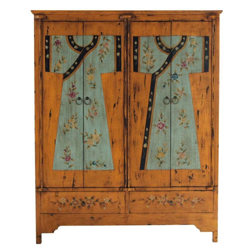 armoire imprim e en bois l 150 cm kimono maisons du monde. Black Bedroom Furniture Sets. Home Design Ideas