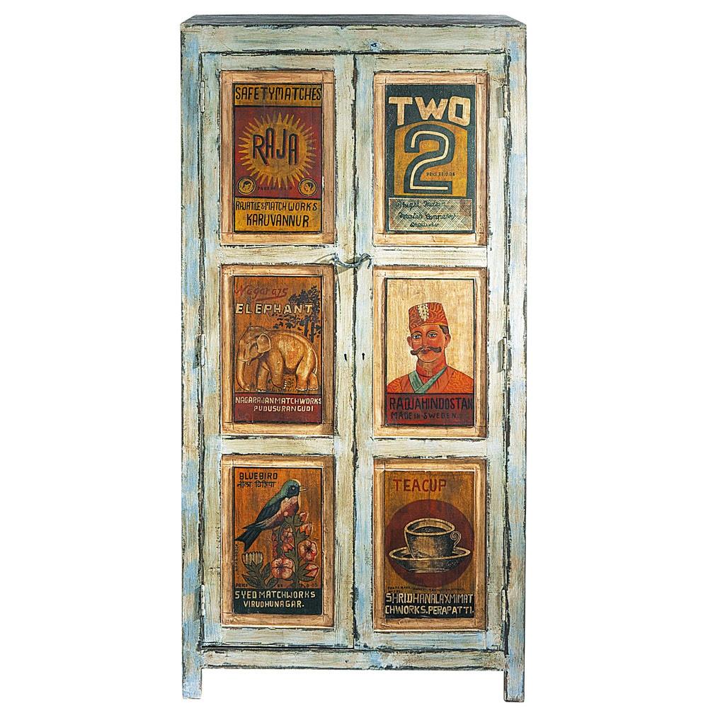 armoire imprim e en bois recycl bleue effet vieilli l 86. Black Bedroom Furniture Sets. Home Design Ideas