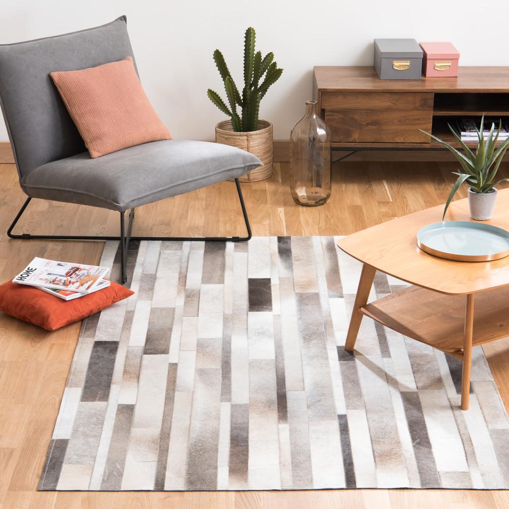 arty leather rug 140x200 maisons du monde. Black Bedroom Furniture Sets. Home Design Ideas