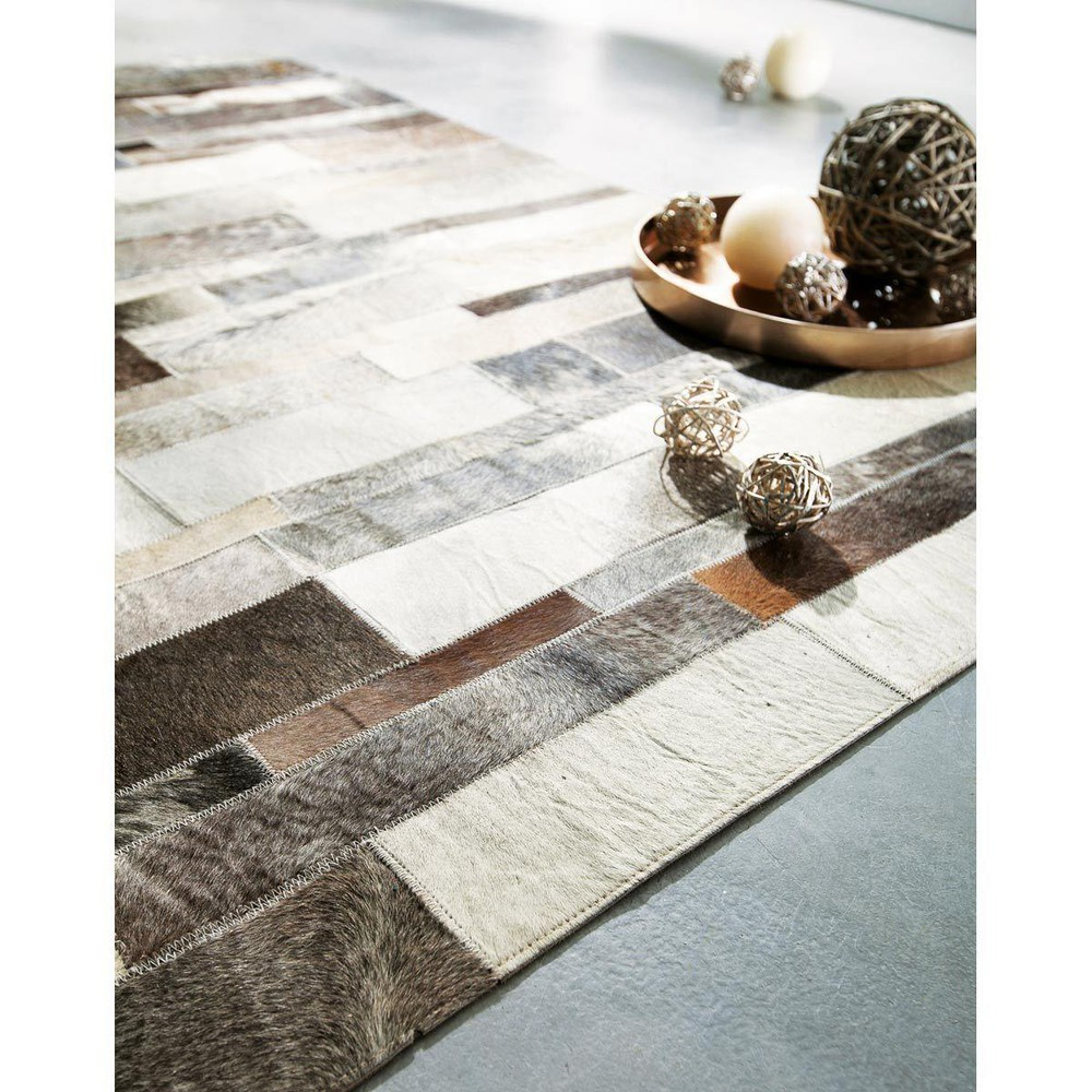 arty leather rug in beige 80 x 300cm maisons du monde. Black Bedroom Furniture Sets. Home Design Ideas