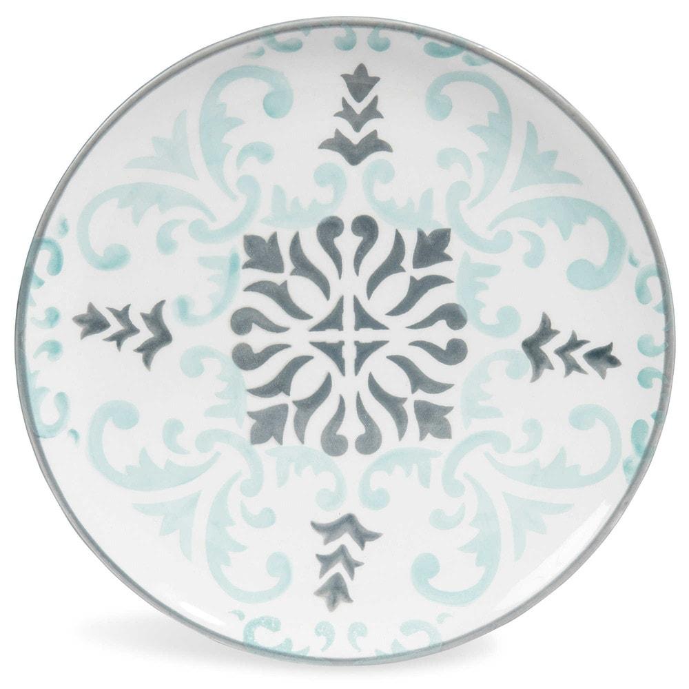 assiette dessert en fa ence bleue grise d 21 cm. Black Bedroom Furniture Sets. Home Design Ideas