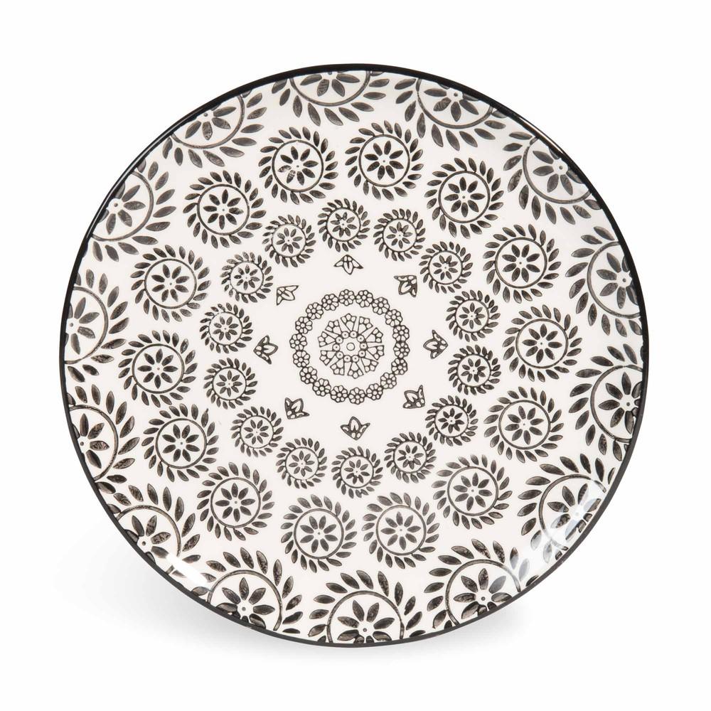 assiette dessert en fa ence noire blanche d 21 cm chiang mai maisons du monde. Black Bedroom Furniture Sets. Home Design Ideas