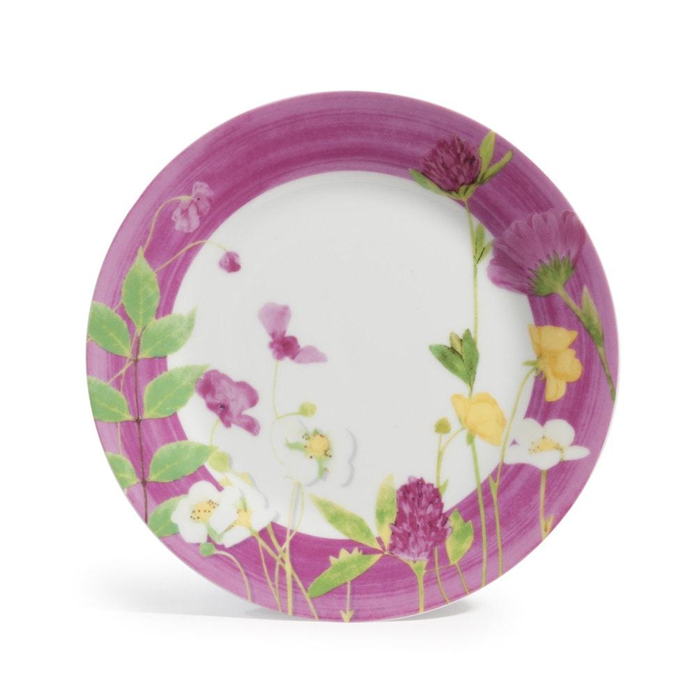 Assiette dessert en porcelaine rose d 21 cm jonquille - Decoration assiette dessert ...