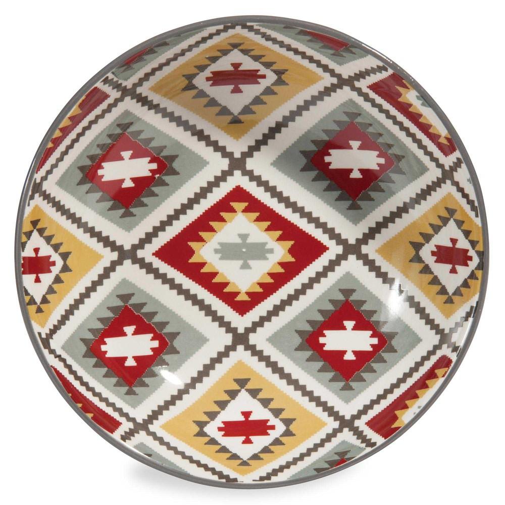 assiette creuse en fa ence grise d 20 cm azteca maisons du monde. Black Bedroom Furniture Sets. Home Design Ideas