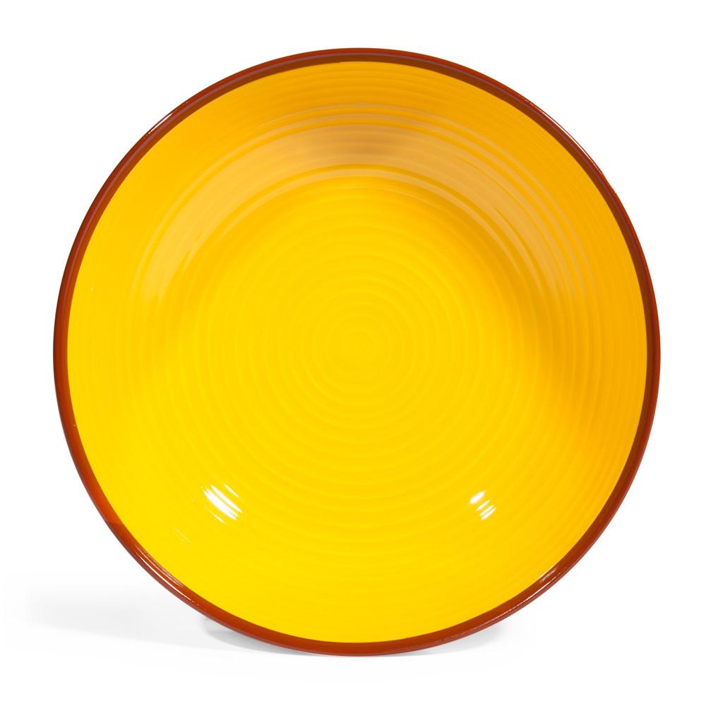assiette creuse en fa ence jaune orange d 20 cm madrid maisons du monde. Black Bedroom Furniture Sets. Home Design Ideas