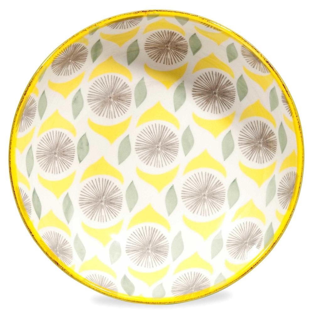 assiette creuse en fa ence motifs verts et jaunes citron maisons du monde. Black Bedroom Furniture Sets. Home Design Ideas