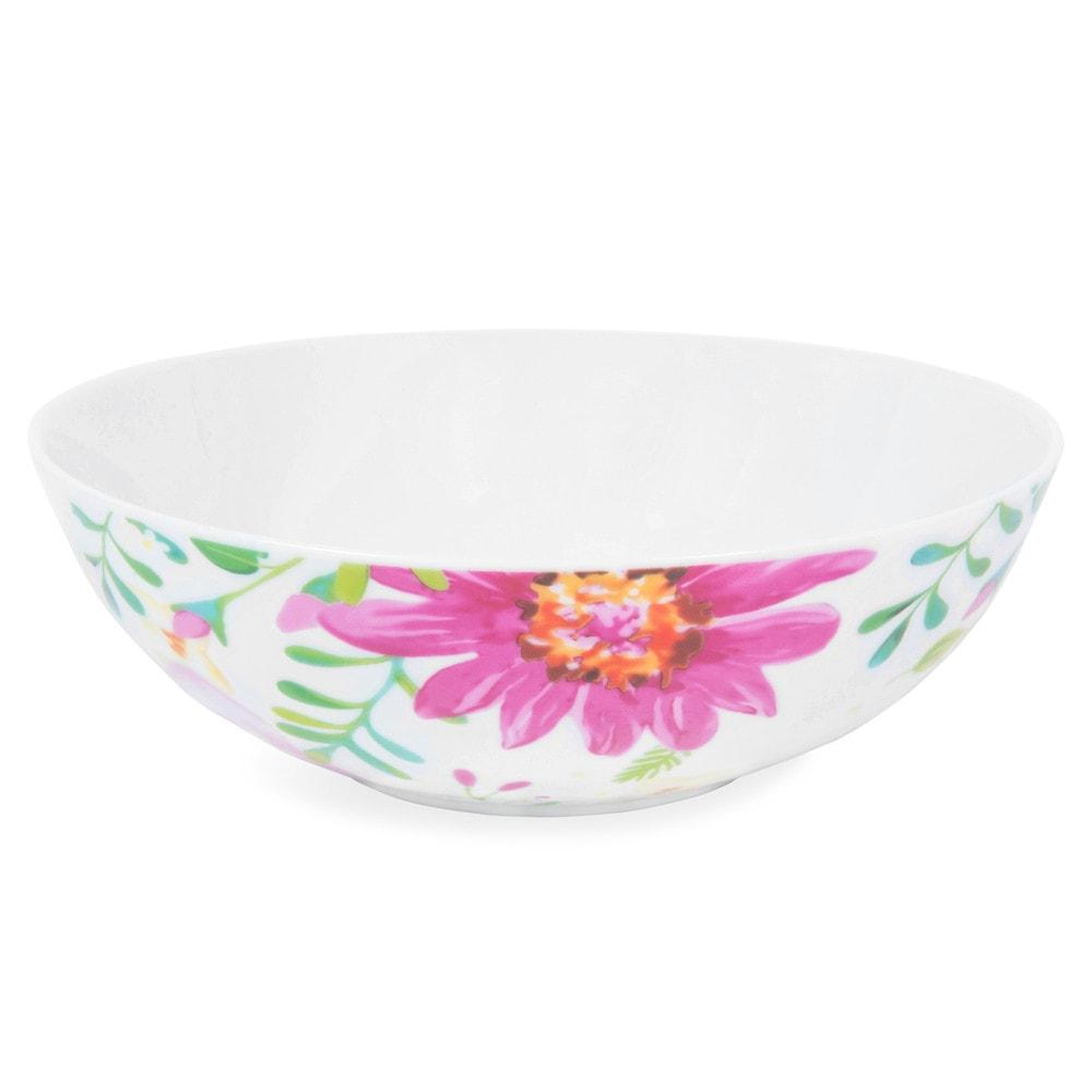 assiette creuse en porcelaine blanche motifs fleurs d 18 cm boh me maisons du monde. Black Bedroom Furniture Sets. Home Design Ideas