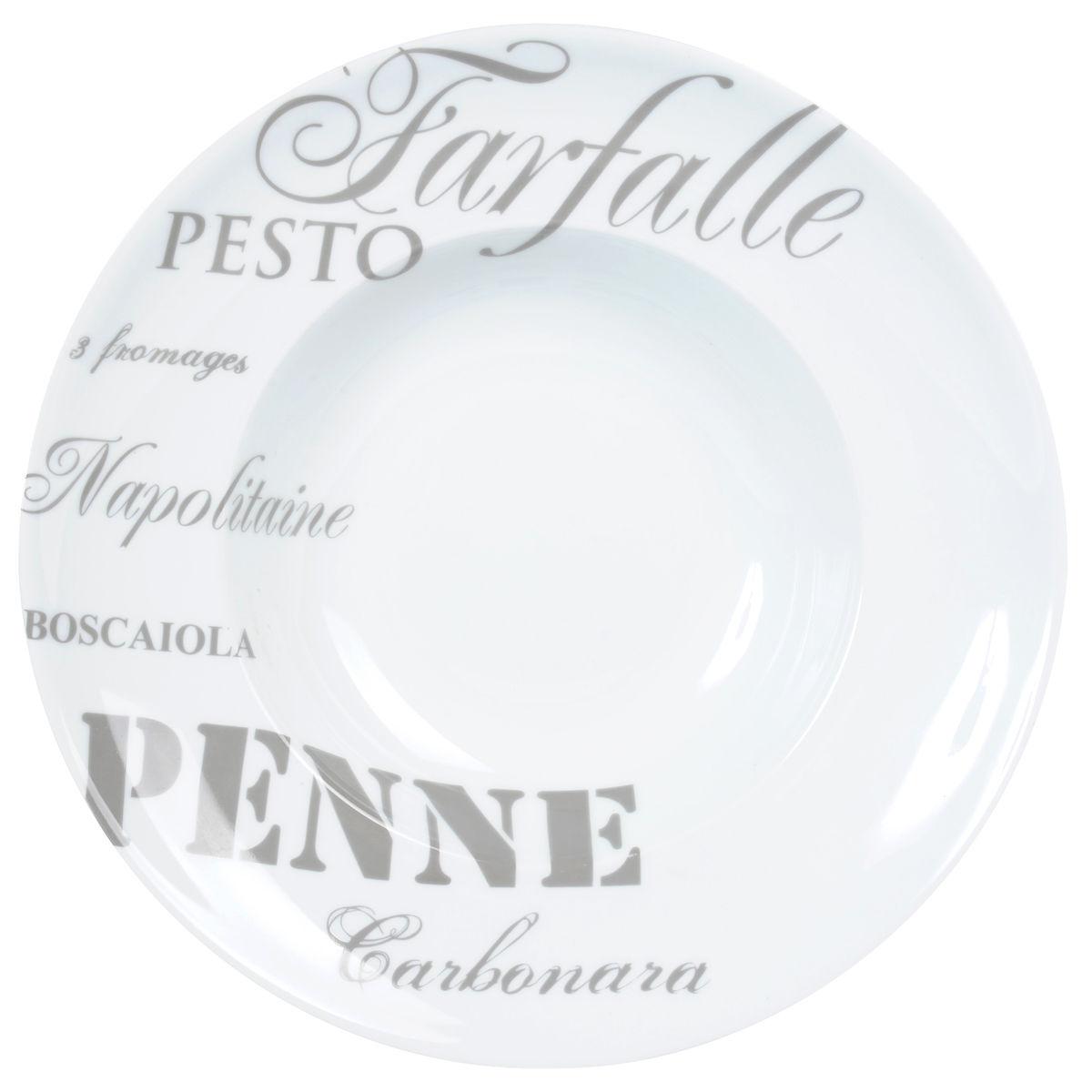 Assiette creuse en porcelaine grise D 30 cm Pasta | Maisons du Monde