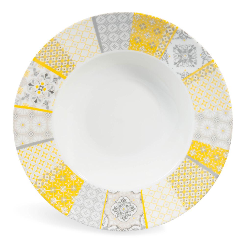 assiette creuse en porcelaine jaune grise d 27 cm alicante maisons du monde. Black Bedroom Furniture Sets. Home Design Ideas