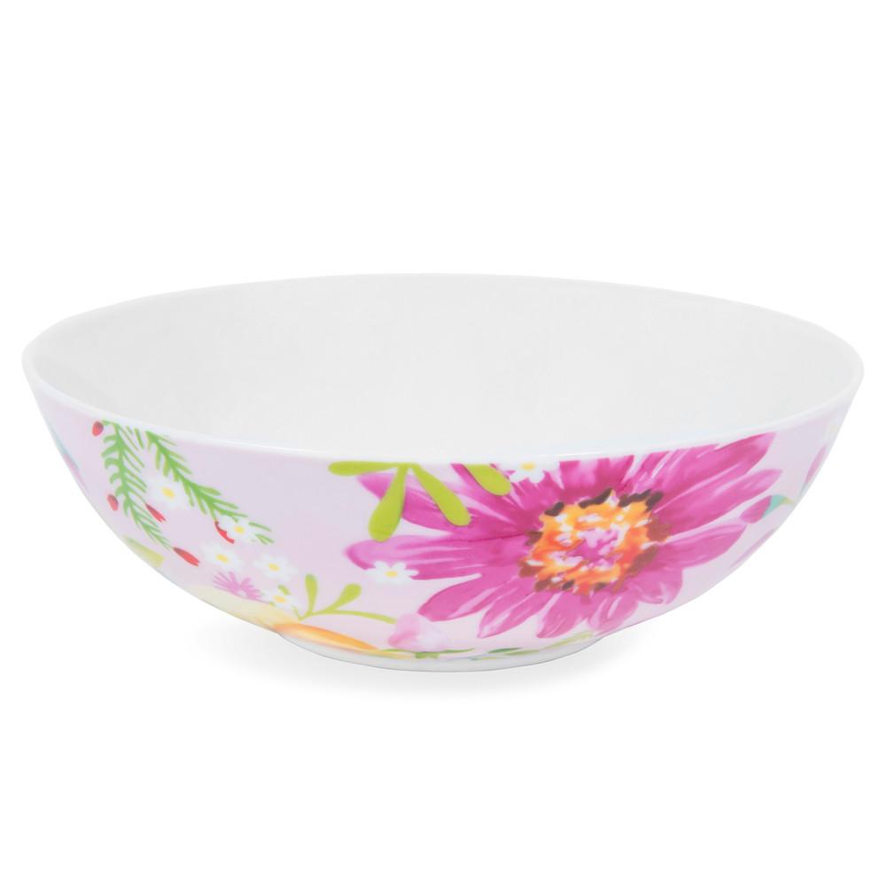 assiette creuse en porcelaine rose motifs fleurs d 18 cm boh me maisons du monde. Black Bedroom Furniture Sets. Home Design Ideas
