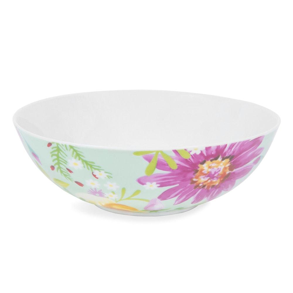 assiette creuse en porcelaine verte motifs fleurs d 18 cm boh me maisons du monde. Black Bedroom Furniture Sets. Home Design Ideas