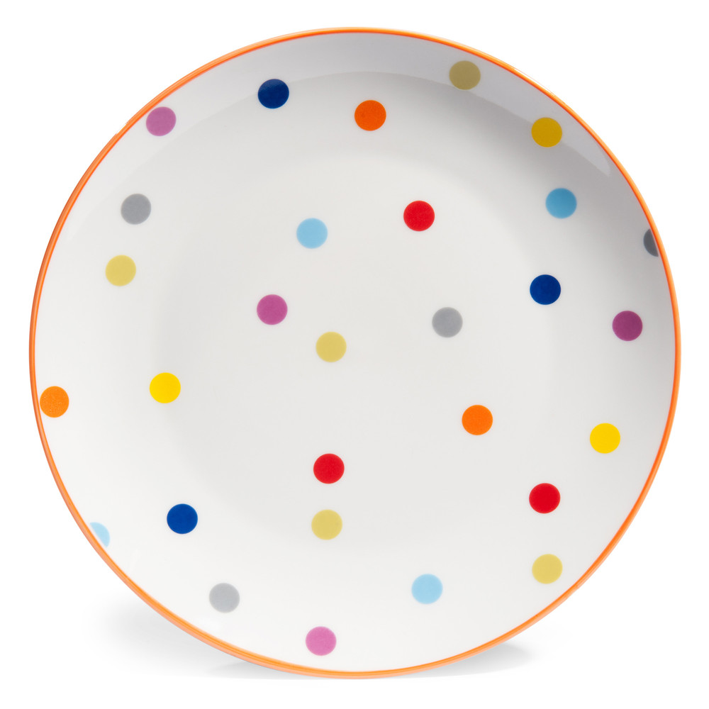 assiette plate pois en porcelaine d 26 cm confettis maisons du monde. Black Bedroom Furniture Sets. Home Design Ideas