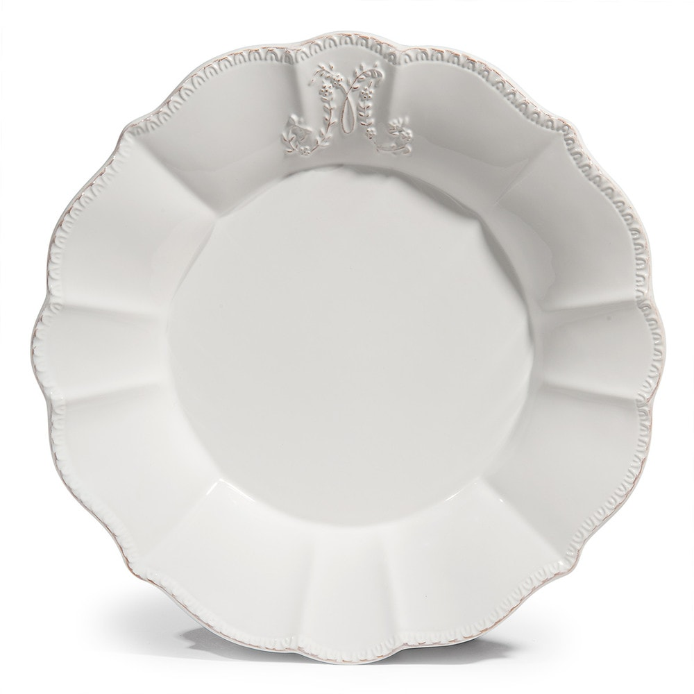 assiette plate en fa ence blanche d 27 cm bourgeoisie maisons du monde. Black Bedroom Furniture Sets. Home Design Ideas