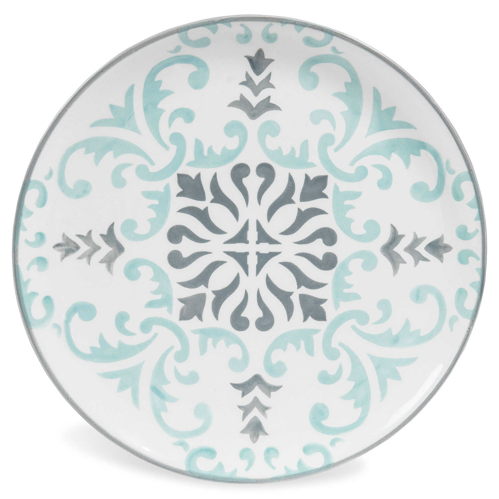 assiette plate en fa ence bleue grised 27 cm hectorine. Black Bedroom Furniture Sets. Home Design Ideas