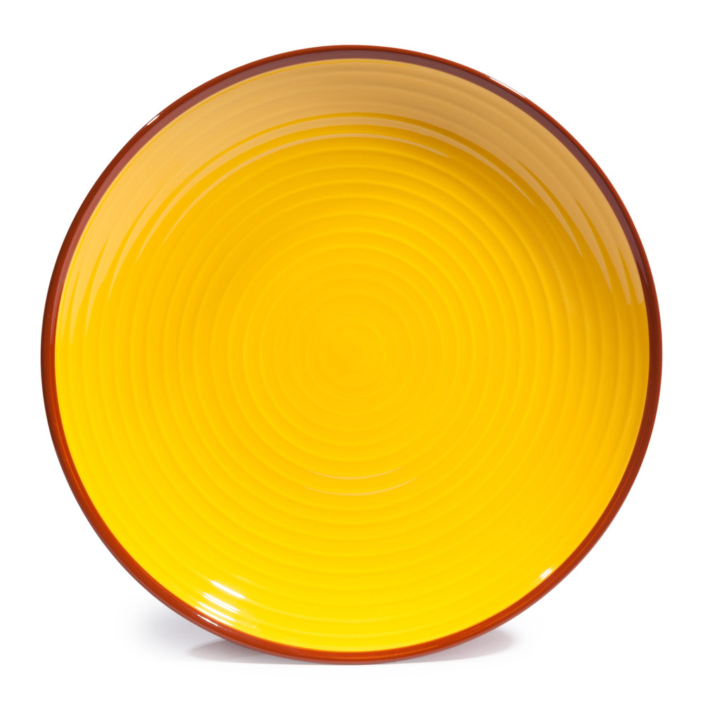 assiette plate en fa ence jaune orange d 27 cm madrid maisons du monde. Black Bedroom Furniture Sets. Home Design Ideas