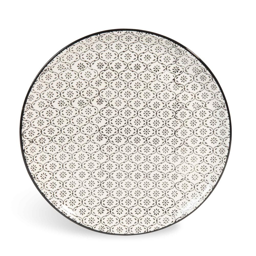assiette plate en fa ence micromotif noir blanc d 27 cm chiang mai maisons du monde. Black Bedroom Furniture Sets. Home Design Ideas