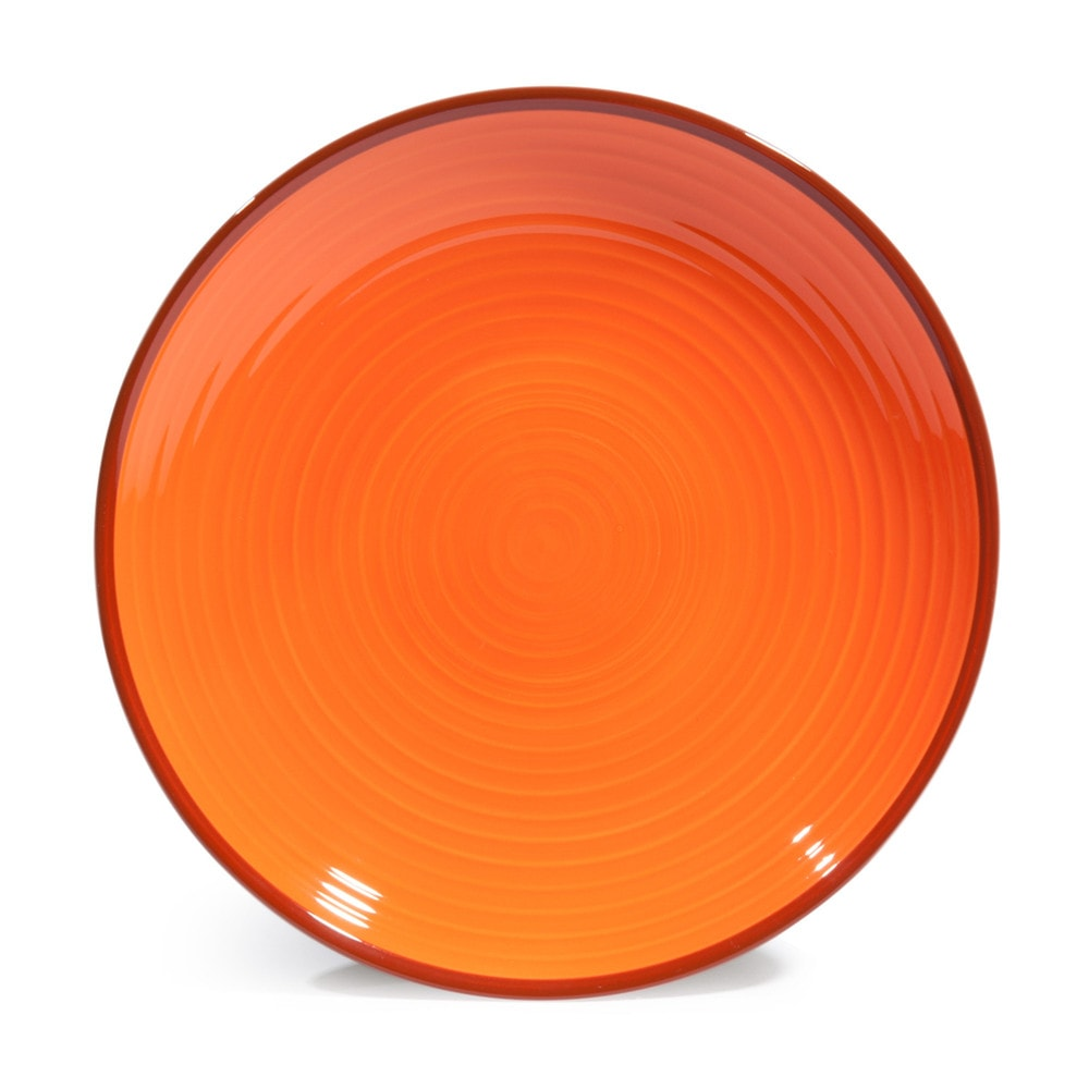 assiette plate en fa ence orange verte d 27 cm madrid. Black Bedroom Furniture Sets. Home Design Ideas